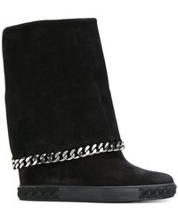 Casadei - 90mm Suede Wedge Trainers W/ Chain Trim - Lyst