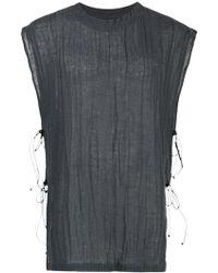 Caravana - Round Neck Leather Tie Shirt - Lyst