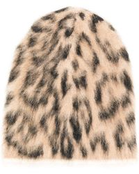 Laneus Leopard Print Hat - Brown