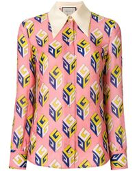 ee839e6c Gucci GG Wallpaper-print Embellished Collar Silk Blouse - Lyst