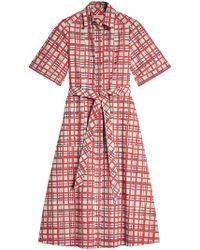 Burberry - Painted Check Cotton Shirt Dress - Lyst