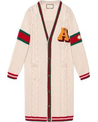Gucci - Embroidered Chunky Cable Knit Cardigan - Lyst