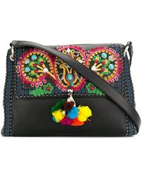 Etro - Embroidered Pompom Shoulder Bag - Lyst