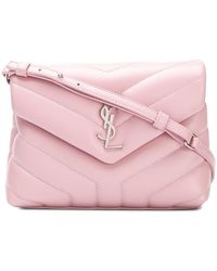 Saint Laurent - Quilted Logo Shoulder Bag - Lyst