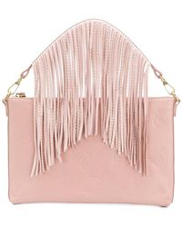 6c3a436fb8300 Pinko - Logo Embossed Fringe Clutch Bag - Lyst