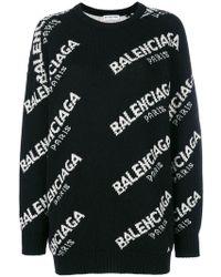 Balenciaga   Jacquard Logo Crewneck Jumper   Lyst