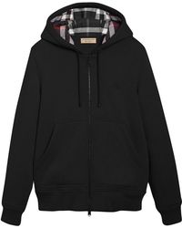 Burberry - Check Detail Zipped Hoodie - Lyst