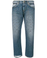 Gaëlle Bonheur - Cropped Medallion Studded Jeans - Lyst