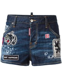 DSquared² - Patched Denim Shorts - Lyst