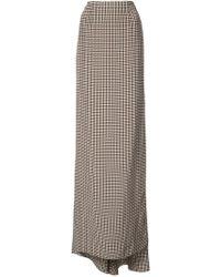 Vera Wang - Checked Side Slit Skirt - Lyst