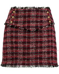 Pinko - Frayed Tweed Mini Skirt - Lyst