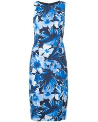 Michael Kors - Floral Fitted Midi Dress - Lyst