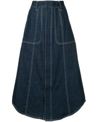 G.v.g.v - Contrast Stitch Denim Skirt - Lyst