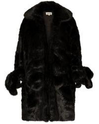 ShuShu/Tong - Knee Length exaggerated Cuff Faux Fur Coat - Lyst
