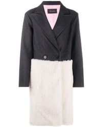 Cedric Charlier - Panelled Single Breasted Coat - Lyst