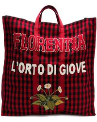 Gucci - Embroidered Checked Tote - Lyst