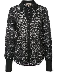 L'Agence - Semi-sheer Floral Lace Shirt - Lyst