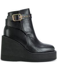 Sacai - Buckled Wedge Platform Boots - Lyst