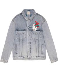 Gucci - Embroidered Oversize Denim Jacket - Lyst