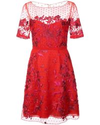 Marchesa notte - Embroidered Point D'esprit Mini Dress - Lyst