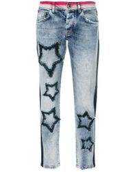 Iceberg - Cropped Star-patch Jeans - Lyst