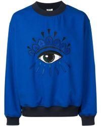 208fb85221b1 KENZO Eye-intarsia Cotton-blend Sweatshirt in Blue for Men - Lyst