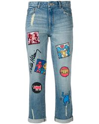 Alice + Olivia - X Keith Haring Patch Jeans - Lyst