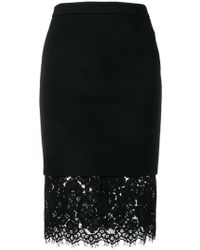 Twin Set - Fitted Floral Lace Skirt - Lyst