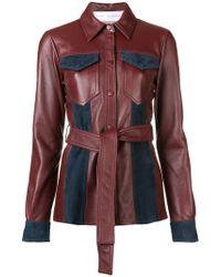 Victoria, Victoria Beckham - Leather Belted Jacket - Lyst