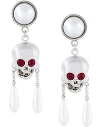 Moschino - Skull Drop Clip-on Earrings - Lyst