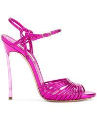 Casadei - Metallic Flash Sandals - Lyst