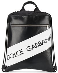 Dolce & Gabbana - Leather Backpack With Logo And Drawstring - Lyst