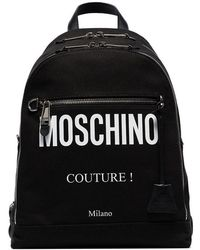Moschino - Black Logo Print Cotton Canvas Backpack - Lyst