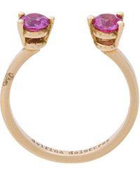 Delfina Delettrez - 2 Dots Pink Sapphires Midi Fingertip Ring - Lyst