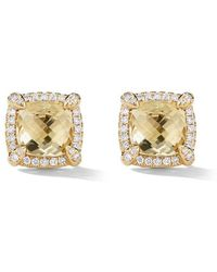 David Yurman - 18kt Yellow Gold Châtelaine Citrine And Diamond Stud Earrings - Lyst