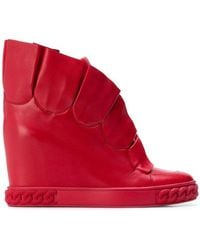 Casadei - Pleated Wedge Trainers - Lyst