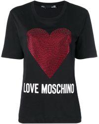 Love Moschino - Heart Print Cotton T-shirt - Lyst