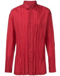 Issey Miyake - Ruched Button Shirt - Lyst