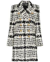 Balmain - Double Breasted Tweed Wool Mohair Alpaca Blend Coat - Lyst