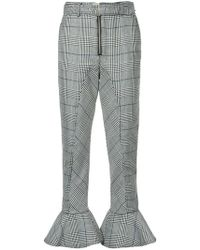 Self-Portrait - Checked Flared Hem Trousers - Lyst