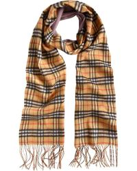 Burberry - Cashmere Double Faced Check Scarf - Lyst