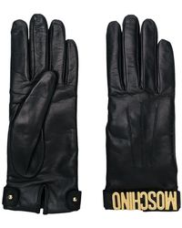 Moschino - Logo Plaque Gloves - Lyst