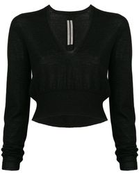 Rick Owens - Deep V-neck Cropped Sweater - Lyst