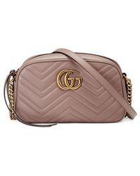 ec926fca520 Lyst - Gucci Gg Marmont Crossbody Bag in Natural