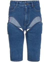 Y. Project - Blue Denim Shorts With Cut Out Detail - Lyst