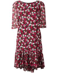 Saint Laurent - Floral Print Babydoll Dress - Lyst