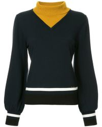 Loveless - Contrast Turtleneck Jumper - Lyst