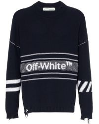 Off-White c/o Virgil Abloh - Distressed-Pullover mit Logo - Lyst
