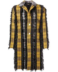 Versace - Checked Button Coat - Lyst