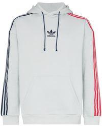 adidas - Contrasting Striped Sleeves Hoodie - Lyst